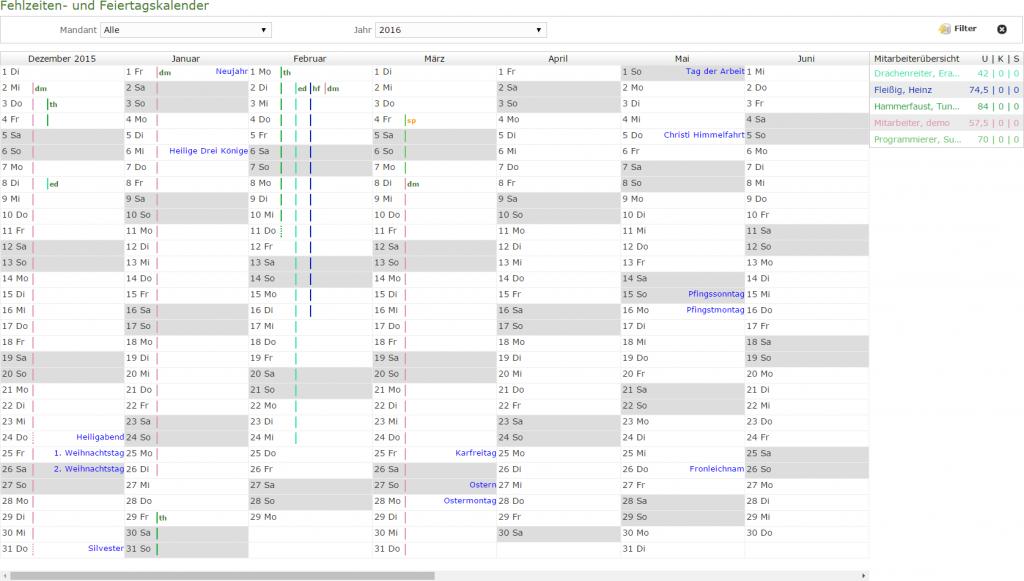 Kalenderansicht der Fehlzeiten und Feiertage aus dem Modul adStundenerfassung